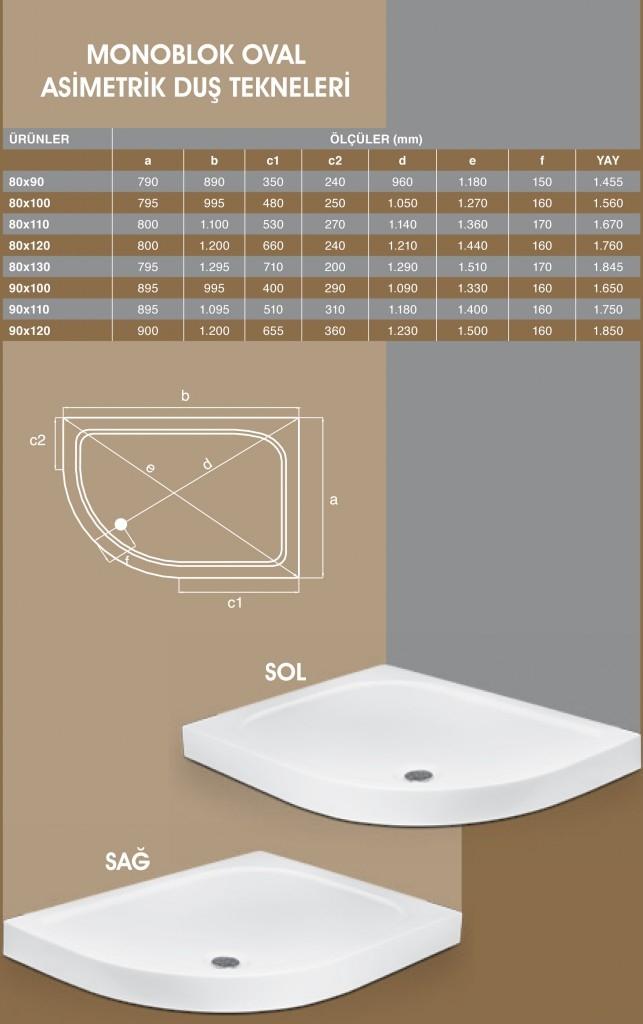 Monoblok Oval Asimetrik, Duşakabin, Duşakabin Tamiri - Yako Banyo, 0212 651 55 75, Banyo Dolapları, Banyo Dolabı, istanbul, Bahçelievler