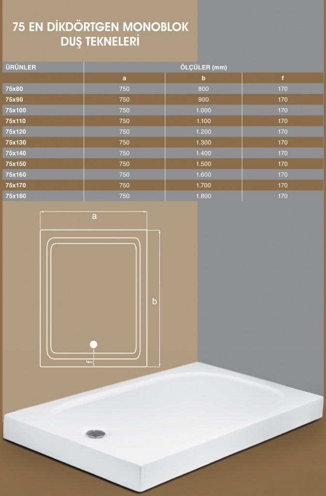 75 En Dikdörtgen Monoblok, Duşakabin, Duşakabin Tamiri - Yako Banyo, 0212 651 55 75, Banyo Dolapları, Banyo Dolabı, istanbul, Bahçelievler