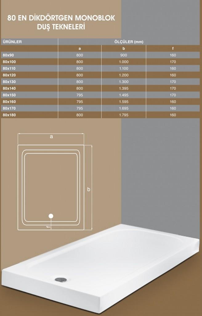 80 En Dikdörtgen Monoblok, Duşakabin, Duşakabin Tamiri - Yako Banyo, 0212 651 55 75, Banyo Dolapları, Banyo Dolabı, istanbul, Bahçelievler