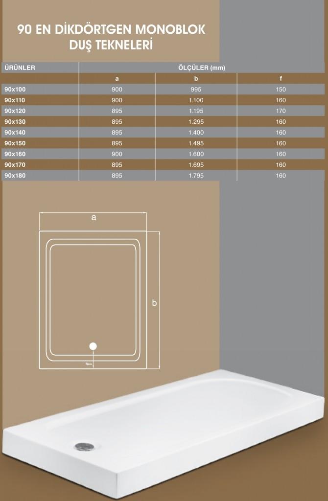 90 En Dikdörtgen Monoblok, Duşakabin, Duşakabin Tamiri - Yako Banyo, 0212 651 55 75, Banyo Dolapları, Banyo Dolabı, istanbul, Bahçelievler