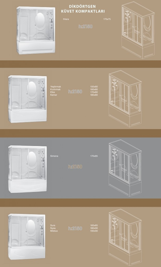Dikdörtgen Küvet Kompaktları - 2, Duşakabin, Duşakabin Tamiri - Yako Banyo, 0212 651 55 75, Banyo Dolapları, Banyo Dolabı, istanbul, Bahçelievler